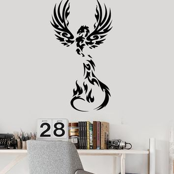 Fire Phoenix Vinyl Wall Decal Fantasy Bird Myth Kids Room Art Stickers Mural (ig5299)