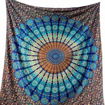 Cotton Fabric Blue Mandala Tapestry Hippie Bedspread Throw Wall Hanging Bohemian Ethnic Home Decor - FabricSarmaya