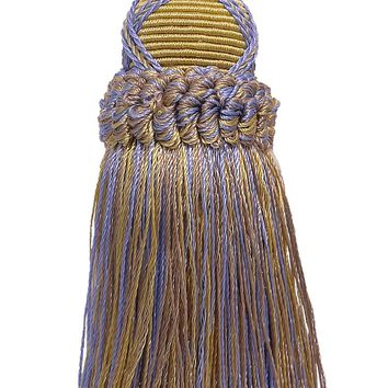 Decorative 5.5 Inch Key Tassel, Lavender Blue, Taupe Imperial II Collection Style# KTIC Color: PERIWINKLE GOLD - 5080