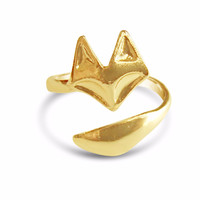 Dainty Adjustable Fox Ring - Gold, Rose Gold and Silver