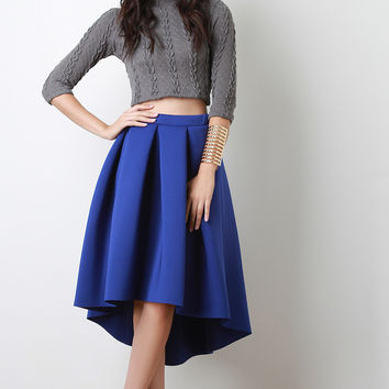 Scuba Pleated High-Low Midi Skirt