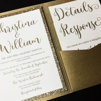 Glitter Wedding Invitation, Pocketfold Wedding Invitation, Calligraphy Wedding Invitation - CHRISTINA VERSION
