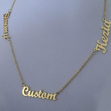 Personalized Custom 3 Nameplate Pendant Necklace  (Max 7 Letters)