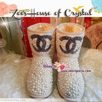CHRISTMAS Sales WINTER Bling Creamy White Pearls UGG Inspired SheepSkin Wool BOOTS w Czech or Swarovski crystals made Chanel - ZoeCrystal