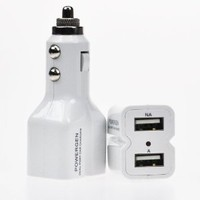 PowerGen White Dual USB 4.2A (20W) Car charger Designed for Apple and Android Devices