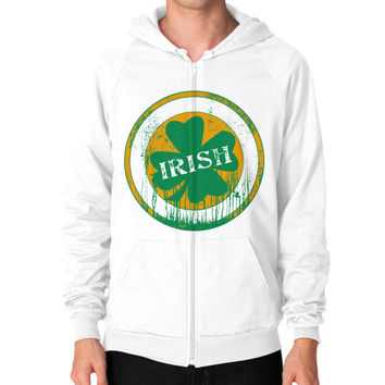 Irish four leaf dripping clover Zip Hoodie (on man)