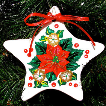 Painted Ornament With Poinsettia and Holly