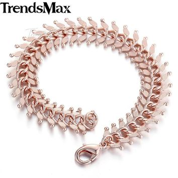 14mm 20cm 23cm 585 Rose Gold Filled Men's Bracelet for women Centipede Link Chain GB275