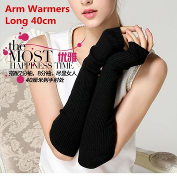 Winter Women's Wool Mitts Superfine Fingerless Gloves Long 2017