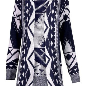 SEXYARN Women's Geometry Knit Cardigan Sweater Poncho Aztec Cape Cloak