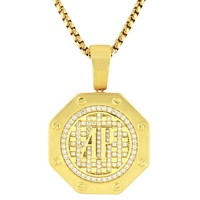 Iced Out Presidential Watch Style Symbol Pendant Box Chain
