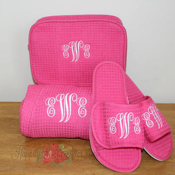 Monogrammed Pink Robe, Slippers, and Cosmetic Bag, 3 Piece Set Wedding Party Gift, Personalized Christmas Gift