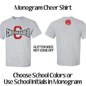 Personalized Glitter Cheer Shirt, Megaphone Cheerleader Shirt, School Spirit Shirt, Pep Rally