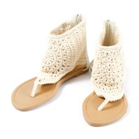 Crochet and Faux Leather Thong Bootie Sandals  | Icing