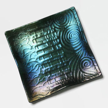 Blue and Purple Art Glass Plate with Iridescent Geometric Pattern, 7 Inch Square, Fused Glass