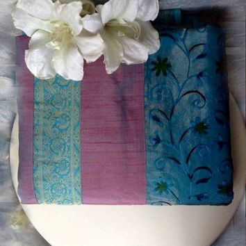 Indian silk embroidered bedspread fuchsia and turquoise