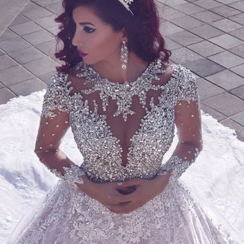 Luxury Shiny Crystal Beading Lace Wedding Dresses Vintage Ball Gown