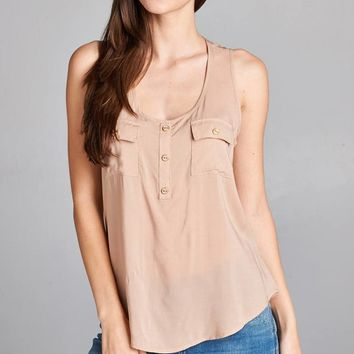 Button Pocket Taupe Tank Top