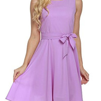 Purple Sleeveless Self-Tie Chiffon Pleated Dress