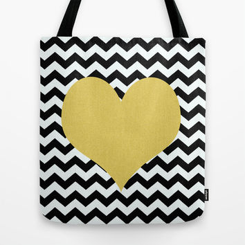 Gold Heart Tote Bag by Haroulita