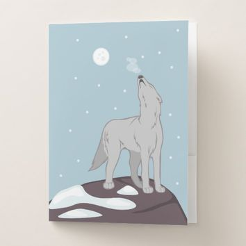 Howling Arctic Wolf Pocket Folder