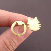 Round Kitty Cat Face Shaped Pet Themed Mix & Match Stud Earrings in Gold