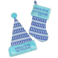 """Hat And Stocking -  """" Baby's First Christmas """"  For Boy"""