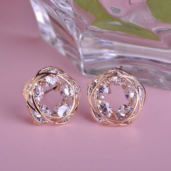 Shining Stud Rhinestone Earrings Prong Setting CZ Zirconia Round Copper Earring Fashion Pendientes Style -0406