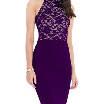 Womens Retro Halter Neck Floral Lace Sleeveless Cocktail Party Bodycon Pencil Midi Dress 176