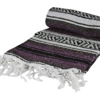 Authentic 6' x 5' Mexican Siesta Blanket (Purple)