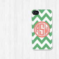 Personalized iPhone 4 Case, iPhone 5 Case, Green Chevron Preppy Coral Monogram, iPhone Case, Phone Case, iPhone Cover (118)
