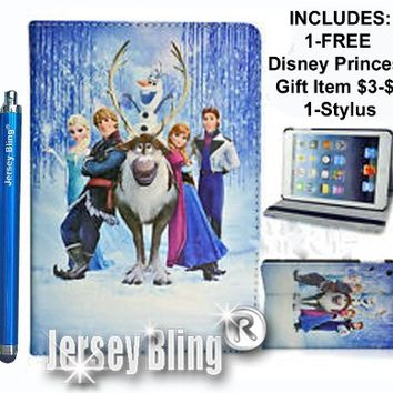 "NEW! FROZEN KINDLE FIRE HD 7"" Princess Gift Set Incl: Faux Leather PVC Case with FREE Stylus & Disney Princess Gift Item"