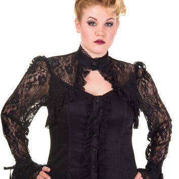 Gothic Black Lace Steampunk Victorian Alchemy Gothic Corset Blouse Top Plus size