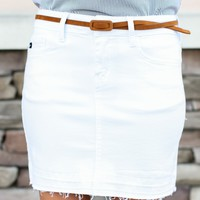 Move On White Denim Skirt