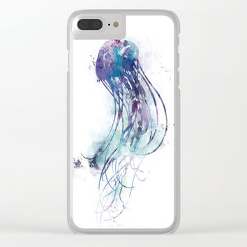 Jellyfish Clear iPhone Case by monnprint