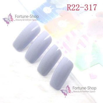 TKGOES 20pcs/set Fake Nails Color Light Blue Acrylic Nail Tips Plastic False French Nail Art Tips Designed With Double Side
