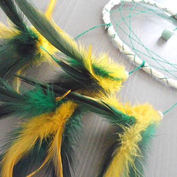 Dream Catcher - Spring in the Garden - With Light Green Gemstone, Green and Yellow Feathers and Yellow Frame - Home Decor, Nursery Mobile