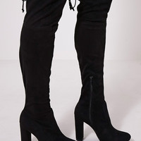 Bess Black Faux Suede Heel Thigh Boots - Boots - PrettylittleThing | PrettyLittleThing.com