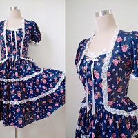 Full Skirt Dress - Vintage Dress - Square Dance Dress - 70s - Square Dance Fashions - Prairie Boho - Swing Party - Navy Black Floral Dress