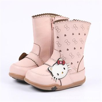 Scecher New Winter Children Boots Princess Pu Leather Hello Kitty Baby Girls Cotton-padded Shoes Snow Boots High Boots S8973