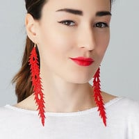 Sarche // Feather Earrings/ Statement Earrings/ Lace Earrings/ Dangle Earrings/ Long Earrings/ Leaf Earrings/ Fashion Earrings/ Gift For Her