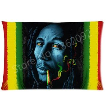 New Jamaica Rasta Bob Marley Pillow Cover Case Pillowcase Bob Marley Custom Pillows Covers Reggae Gifts Two Sides 20x30 inch