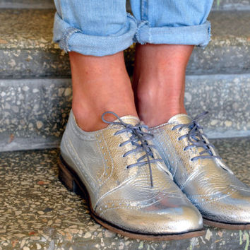 Oddity - Womens Leather Derbys, Brogue Shoes, Vintage Shoes, Silver Oxfords, Derbys Shoes, Custom Shoes, FREE shipping!!!
