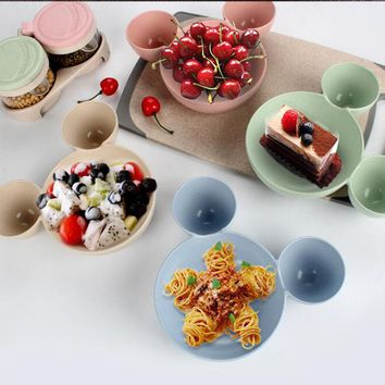 Ear Style Children Feeding Bowl Baby Bowl Cute Dinner Tray Dishes Fruit Plate Tableware Healthy Material 2C