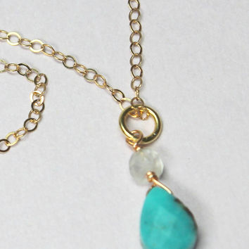 Turquoise Teardrop Necklace, Real Aqua Blue Turquoise, Gold Turquoise Choker, December Birthstone, Dainty Delicate, Summer Necklace