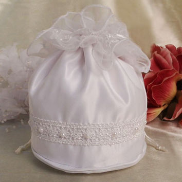 Satin White or Ivory Drawstring Money Bridal Bag