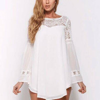 White Bell Sleeve Floral Lace Mini Dress
