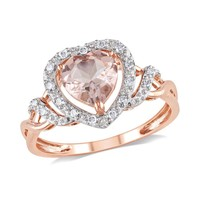 Heart Morganite and Diamond Halo Ring 1/10ctw - Size 8