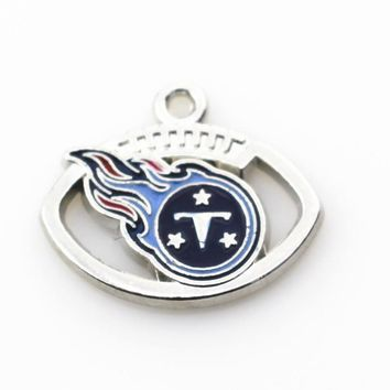 Hot Selling 12pcs/lot Silver Alloy Tennessee Titans Football Sports Dangle Charms Fit Necklace Bracelet Jewelry Making