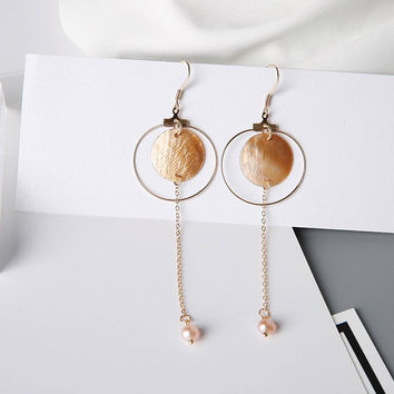 Cara - Gold plated mother of pearl chain hoop drop earrings